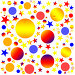 Абстрактный узор - разноцветные шары, круги и звезды. Бесшовный паттерн. Растр, иллюстрация № 24831779 (c) Елена Александрова / Фотобанк Лори