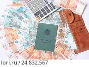 Трудовая книжка, калькулятор, кошелек и много денег. Стоковое фото, фотограф Яна Королёва / Фотобанк Лори