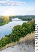 Вид на реку Дон в Воронежской области c лучами солнца. Стоковое фото, фотограф Иван Коцкий / Фотобанк Лори