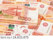 Купить «Heap of five thousandths banknotes of russian roubles close up», фото № 24833875, снято 16 августа 2018 г. (c) FotograFF / Фотобанк Лори