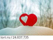 Купить «Beautiful hearts on a winter background», фото № 24837735, снято 6 января 2017 г. (c) Захар Гончаров / Фотобанк Лори