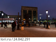 Купить «Moscow, Russia - February 21.2016. People waiting for trains in area of Leningrad station», фото № 24842291, снято 21 февраля 2016 г. (c) Володина Ольга / Фотобанк Лори