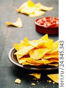 Купить «Nachos with salsa dip», фото № 24845343, снято 8 декабря 2016 г. (c) Наталия Кленова / Фотобанк Лори
