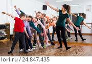 Купить «children studying contemp dance», фото № 24847435, снято 12 ноября 2016 г. (c) Яков Филимонов / Фотобанк Лори
