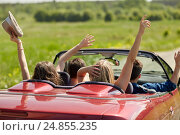 Купить «happy friends driving in cabriolet car at country», фото № 24855235, снято 28 мая 2016 г. (c) Syda Productions / Фотобанк Лори