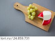 Купить «Gouda cheese with grapes on chopping board», фото № 24859731, снято 16 сентября 2016 г. (c) Wavebreak Media / Фотобанк Лори