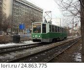 Купить «Трамвай 71-608К с бортовым номером 123 в городе Хабаровске. Амурский бульвар», фото № 24863775, снято 21 ноября 2010 г. (c) Дмитрий Гаврилюк / Фотобанк Лори