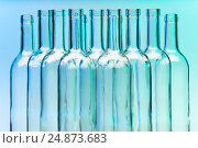 Купить «Picture of several clear glass wine bottles», фото № 24873683, снято 5 января 2016 г. (c) Сергей Новиков / Фотобанк Лори