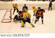 Game of hockey on ice platform under opened by sky (2017 год). Редакционное фото, фотограф Сергей Овчинников / Фотобанк Лори