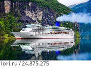 Купить «Cruise Liners On Geiranger fjord, Norway», фото № 24875275, снято 20 июля 2016 г. (c) Андрей Армягов / Фотобанк Лори