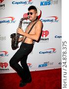 Купить «KIIS FM's iHeartRadio Jingle Ball 2015 at Microsoft Theater - Arrivals Featuring: Sexy Sax Man, Sergio Where: Los Angeles, California, United States When: 04 Dec 2015 Credit: FayesVision/WENN.com», фото № 24878375, снято 4 декабря 2015 г. (c) age Fotostock / Фотобанк Лори