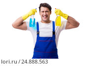 Купить «Man with cleaning agents isolated on white background», фото № 24888563, снято 31 октября 2016 г. (c) Elnur / Фотобанк Лори