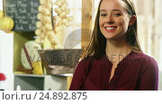 Купить «Beautiful woman standing with arms crossed», видеоролик № 24892875, снято 22 июля 2018 г. (c) Wavebreak Media / Фотобанк Лори