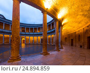 Купить «Inner view of Palace of Charles V at Alhambra», фото № 24894859, снято 12 мая 2016 г. (c) Яков Филимонов / Фотобанк Лори