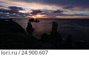 Купить «Sunset Atlantic coastline landscape», видеоролик № 24900607, снято 11 января 2017 г. (c) Юрий Брыкайло / Фотобанк Лори