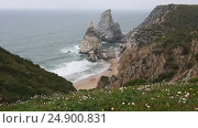 Купить «Atlantic coast view in misty weather, Portugal», видеоролик № 24900831, снято 14 января 2017 г. (c) Юрий Брыкайло / Фотобанк Лори