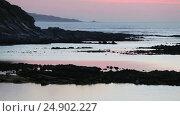 Купить «Evening twilight ocean view», видеоролик № 24902227, снято 3 января 2017 г. (c) Юрий Брыкайло / Фотобанк Лори