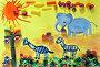 Детский рисунок красками  с элементами продуктов питания, фото № 24902543, снято 19 февраля 2013 г. (c) Дрогавцева Оксана / Фотобанк Лори