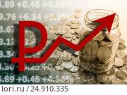 Купить «Bank with ruble coins and counting», фото № 24910335, снято 4 августа 2016 г. (c) Александр Калугин / Фотобанк Лори