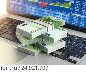 Купить «Stock market online business concept. Pack of euro on laptop keyboard with stock market char on the screen.», фото № 24921707, снято 22 сентября 2019 г. (c) Maksym Yemelyanov / Фотобанк Лори