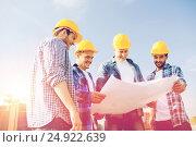 Купить «group of builders with tablet pc and blueprint», фото № 24922639, снято 21 сентября 2014 г. (c) Syda Productions / Фотобанк Лори