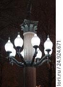 Купить «Уличный фонарь на Пушкинской площади. Москва», фото № 24924671, снято 23 декабря 2016 г. (c) Алексей Сварцов / Фотобанк Лори