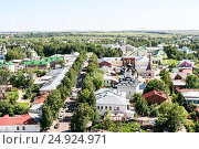 View of the Lenin street and St. Antipy Church from the bell tower, Russia, Suzdal (2014 год). Стоковое фото, фотограф Денис Фоломеев / Фотобанк Лори
