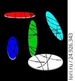 Design composition with a colored strokes on a color ellipses  on black background. Стоковая иллюстрация, иллюстратор vladimir vershvovski (Владимир Вершвовский) / Фотобанк Лори