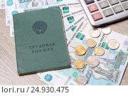 Купить «Трудовая книжка, деньги и калькулятор», эксклюзивное фото № 24930475, снято 23 января 2017 г. (c) Яна Королёва / Фотобанк Лори