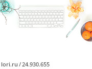 Купить «Minimal elegant desk with tangerines and turquoise vase», фото № 24930655, снято 15 октября 2018 г. (c) Екатерина Рыбина / Фотобанк Лори