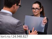 Businesspeople working on virtual screen. Стоковое фото, фотограф Elnur / Фотобанк Лори