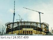 Купить «Екатеринбург. Строительство нового стадиона для ЧМ-2018 по футболу», фото № 24957499, снято 26 октября 2012 г. (c) Сергеев Валерий / Фотобанк Лори