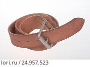 Leather men's light brown belt. Стоковое фото, фотограф Станислав Занегин / Фотобанк Лори