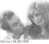 Imitation of pencil drawing of happy embracing loving couple. Стоковое фото, фотограф Екатерина Голубкова / Фотобанк Лори