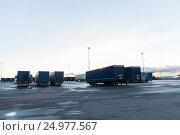 Купить «trucks and trailers on parking», фото № 24977567, снято 2 декабря 2015 г. (c) Syda Productions / Фотобанк Лори