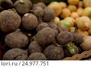 Купить «close up of black radish at grocery or market», фото № 24977751, снято 2 ноября 2016 г. (c) Syda Productions / Фотобанк Лори
