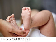 Купить «close up of newborn baby feet in mother hands», фото № 24977783, снято 23 ноября 2016 г. (c) Syda Productions / Фотобанк Лори
