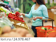 Купить «woman with basket buying peppers at grocery store», фото № 24978467, снято 2 ноября 2016 г. (c) Syda Productions / Фотобанк Лори
