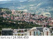 Aerial view from Vraca Memorial Park on Sarajevo city, Bosnia and Herzegovina. Стоковое фото, фотограф Konrad Zelazowski / age Fotostock / Фотобанк Лори