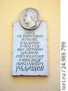 Купить «Мемориальная доска на Волковом кладбище, где захоронен А.Н. Радищев. Санкт-Петербург», эксклюзивное фото № 24989799, снято 21 августа 2015 г. (c) Александр Щепин / Фотобанк Лори
