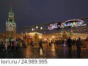 Купить «Новогодняя ГУМ-Ярмарка на Красной площади в Москве», эксклюзивное фото № 24989995, снято 28 января 2017 г. (c) Алексей Гусев / Фотобанк Лори
