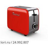 Купить «Vintage toaster isolated on white 3D illustration», иллюстрация № 24992807 (c) Hemul / Фотобанк Лори