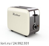Купить «Vintage toaster isolated on white 3D illustration», иллюстрация № 24992931 (c) Hemul / Фотобанк Лори