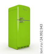 Купить «Retro fridge isolated white background 3D rendering», иллюстрация № 24992943 (c) Hemul / Фотобанк Лори