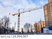 Купить «Панорама стройтельства точечной застройки», фото № 24994907, снято 29 января 2017 г. (c) Victoria Demidova / Фотобанк Лори