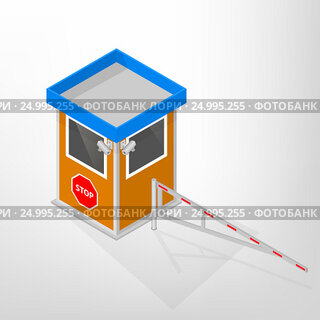 Security lodges with a mechanical barrier isometric, vector illustration