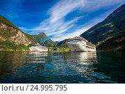 Купить «Cruise Liners On Geiranger fjord, Norway», фото № 24995795, снято 20 июля 2016 г. (c) Андрей Армягов / Фотобанк Лори