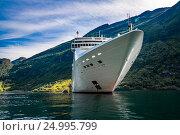 Купить «Cruise Liners On Geiranger fjord, Norway», фото № 24995799, снято 20 июля 2016 г. (c) Андрей Армягов / Фотобанк Лори