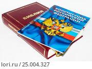 Купить «Библия и Конституция Российской Федерации», фото № 25004327, снято 30 января 2017 г. (c) Павел Сапожников / Фотобанк Лори