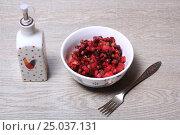 Купить «Винегрет на столе», эксклюзивное фото № 25037131, снято 30 января 2017 г. (c) Яна Королёва / Фотобанк Лори